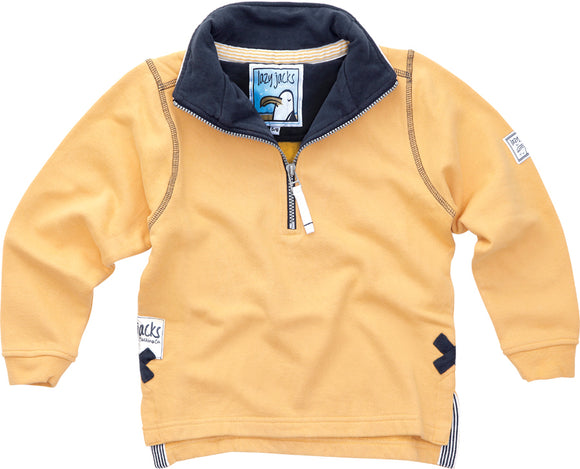 Lazy Jacks Childrens Quarter Zip Plain Sweatshirt  - Yellow