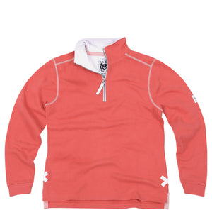 Lazy Jacks Quarter Zip Plain Sweatshirt - Coral