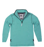 Lazy Jacks Quarter Zip Printed Sweatshirt - Sea Foam