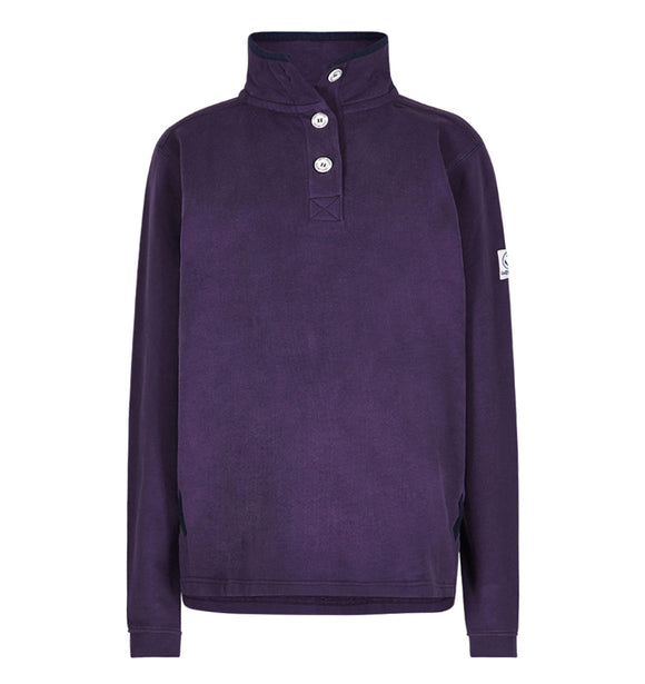 Lazy Jacks Supersoft Button Neck Sweatshirt - Purple