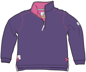 Lazy Jacks Quarter Zip Plain Sweatshirt - Purple