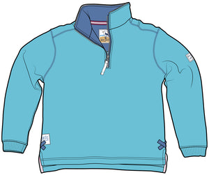 Lazy Jacks Quarter Zip Plain Sweatshirt - Turquoise