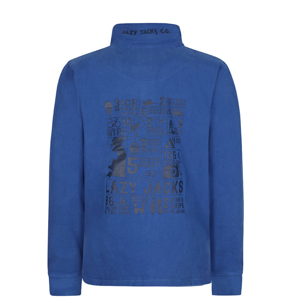 Lazy Jacks Mens Quarter Zip Printed Sweatshirt - Royal