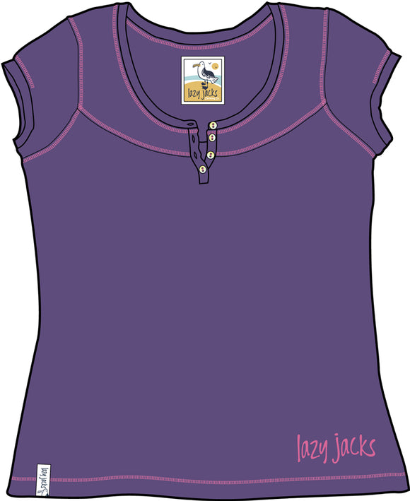 Lazy Jacks Ladies Short Sleeve Button T-Shirt - Purple
