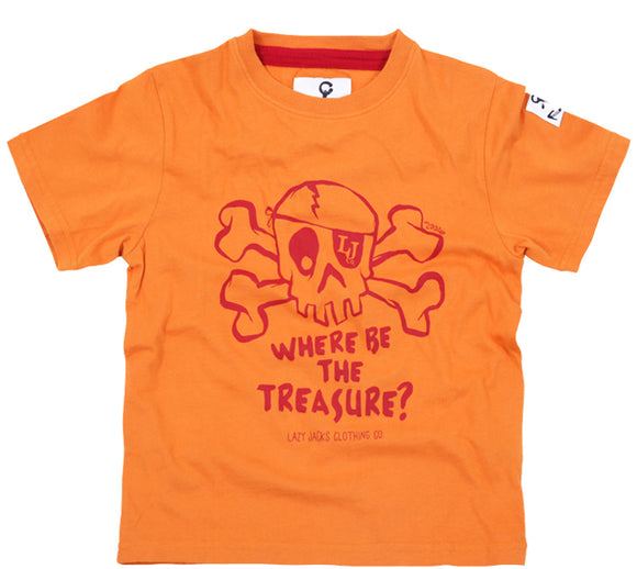 Lazy Jacks Childrens Short Sleeve Printed T-Shirt - Orange