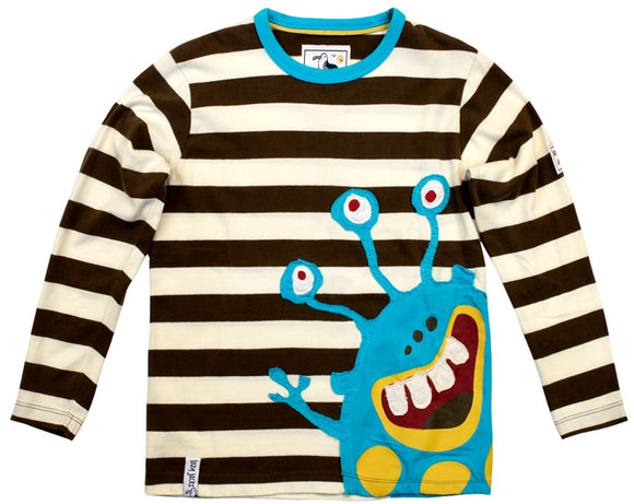 Lazy Jacks Childrens Long Sleeve Striped T-Shirt - Chocolate