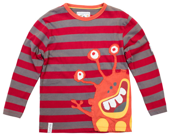 Lazy Jacks Childrens Long Sleeve Striped T-Shirt - Crimson