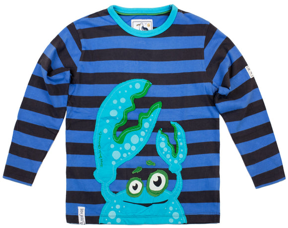 Lazy Jacks Childrens Long Sleeve Striped T-Shirt - Navy/Denim