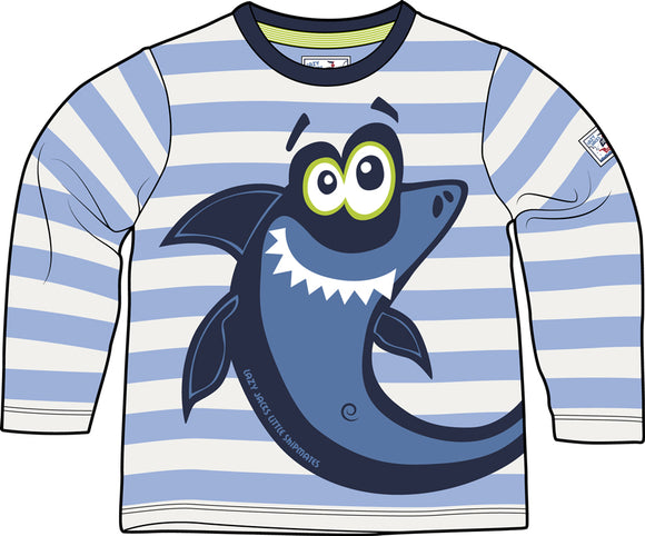 Lazy Jacks Childrens Long Sleeve Striped T-Shirt - Sky