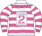 Lazy Jacks Childrens Long Sleeve Stripe Rugby Shirt - Fuschia
