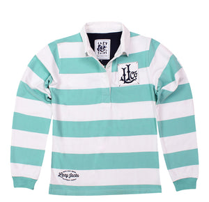 Lazy Jacks Ladies Stripe Rugby Shirt  - Sea Foam
