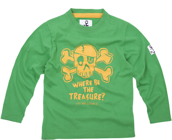 Lazy Jacks Childrens Long Sleeve Printed T-Shirt - Green