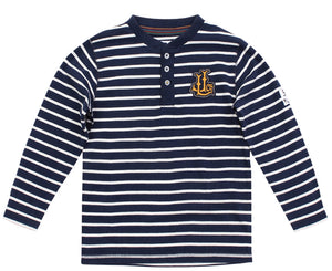 Lazy Jacks Childrens Long Sleeve Striped T-Shirt - Marine