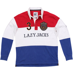 Lazy Jacks Long Sleeve Stripe Rugby Shirt - Deep Red