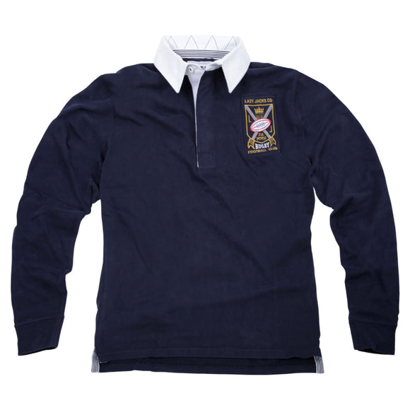 Lazy Jacks Mens Long Sleeve Rugby Shirt - Navy
