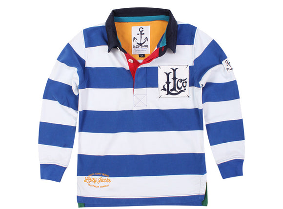 Lazy Jacks Childrens Long Sleeve Stripe Rugby Shirt - Rich Blue