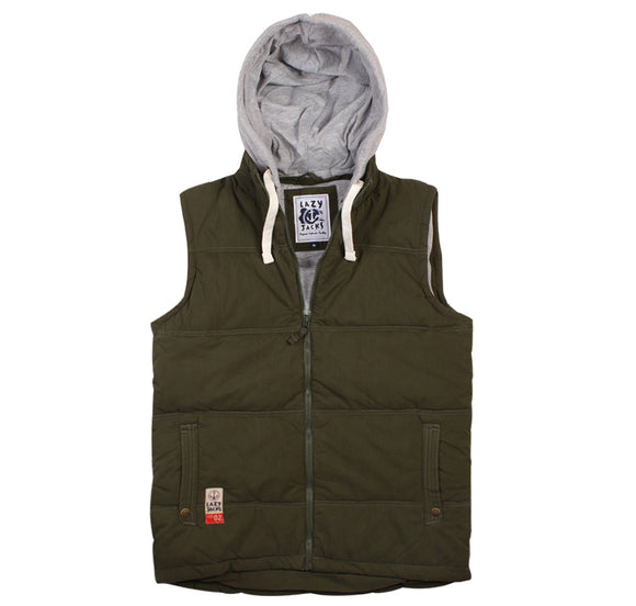 Lazy Jacks Mens Hooded Gilet - Field Green