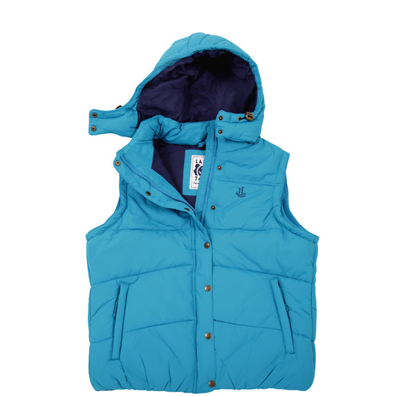 Lazy Jacks Ladies Padded Gilet with Detachable Hood  - Turquoise