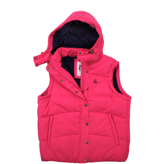 Lazy Jacks Ladies Padded Gilet with Detachable Hood  - Cherry