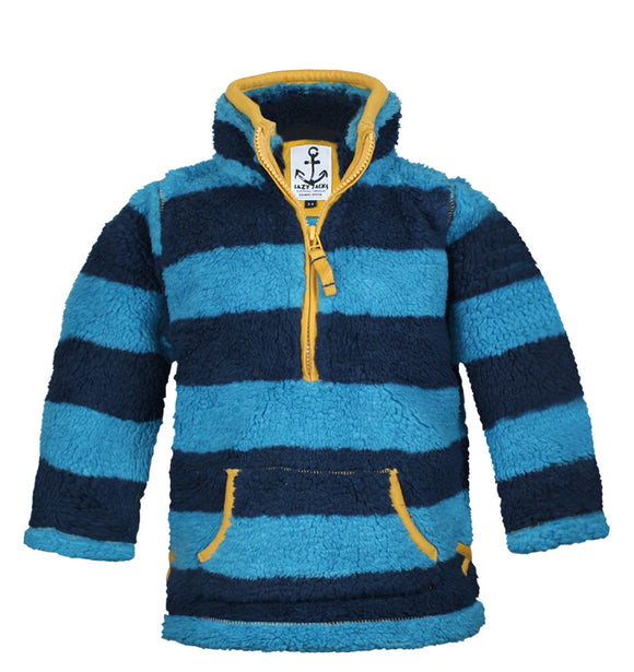 Lazy Jacks Childrens Quarter Zip Stripe Fleece Top - Kingfisher