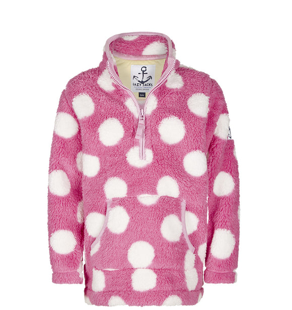 Lazy Jacks Childrens Quarter Zip Spotty Fleece Top - Fuschia