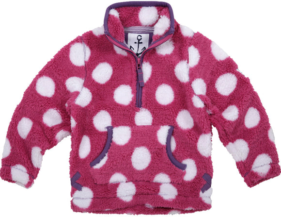 Lazy Jacks Childrens Quarter Zip Spotty Fleece Top - Magenta