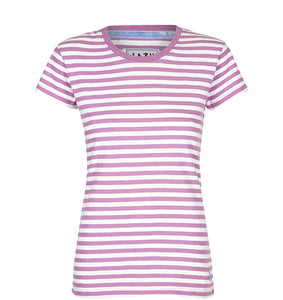 Lazy Jacks Ladies Stripe T-Shirt - Fuschia
