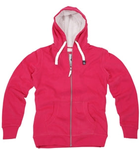 Lazy Jacks Ladies Full Zip Fleece Lined Hooded Sweatshirt - Cherry