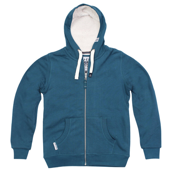 Lazy Jacks Ladies Hooded Full Zip Fleece Lined Sweatshirt - Petrol