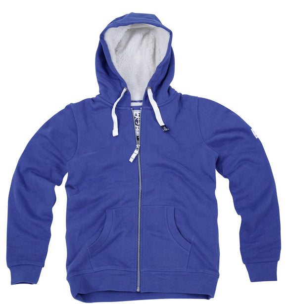 Lazy Jacks Ladies Full Zip Fleece Lined Hooded Sweatshirt - Royal