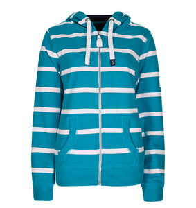 Lazy Jacks Ladies Hooded Full Zip Stripe Sweatshirt - Kingfisher