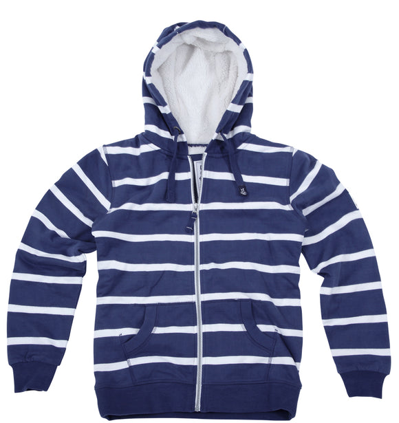 Lazy Jacks Ladies Hooded Full Zip Fleece Lined Stripe Sweatshirt - Twilight