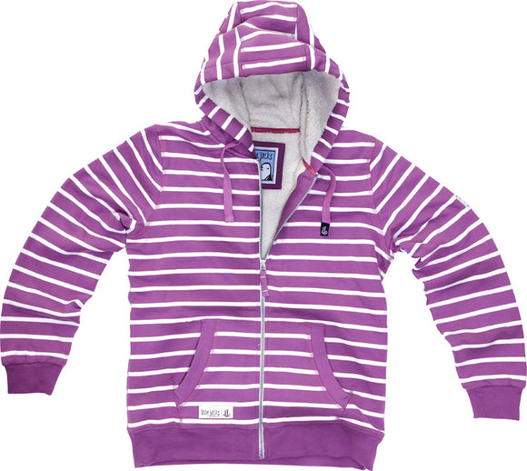 Lazy Jacks Ladies Hooded Full Zip Fleece Lined Stripe Sweatshirt - Violet