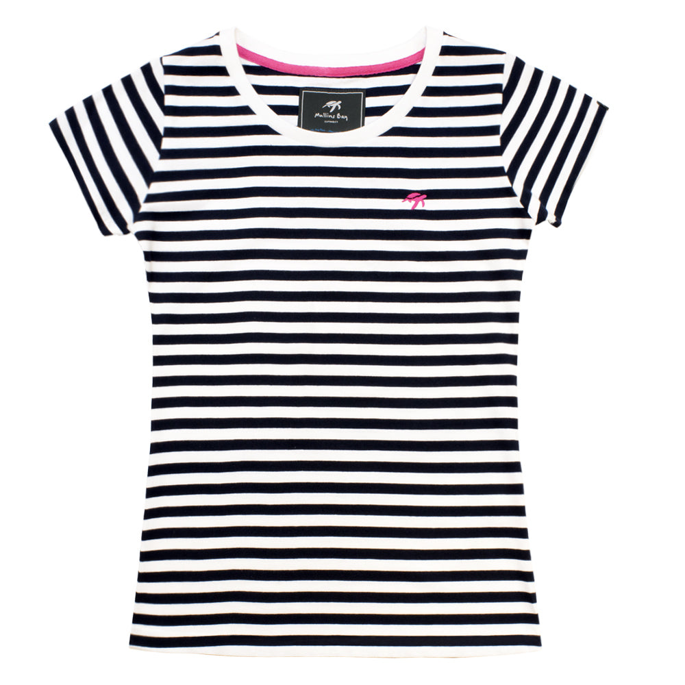 Ladies Striped Short Sleeved T-Shirt - Twilight