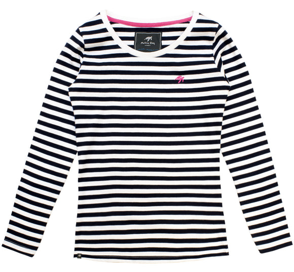 Ladies Long Sleeved Stripe T-Shirt - Navy