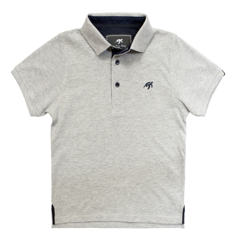 Mullins Bay Childrens Polo Shirt- Grey Marl