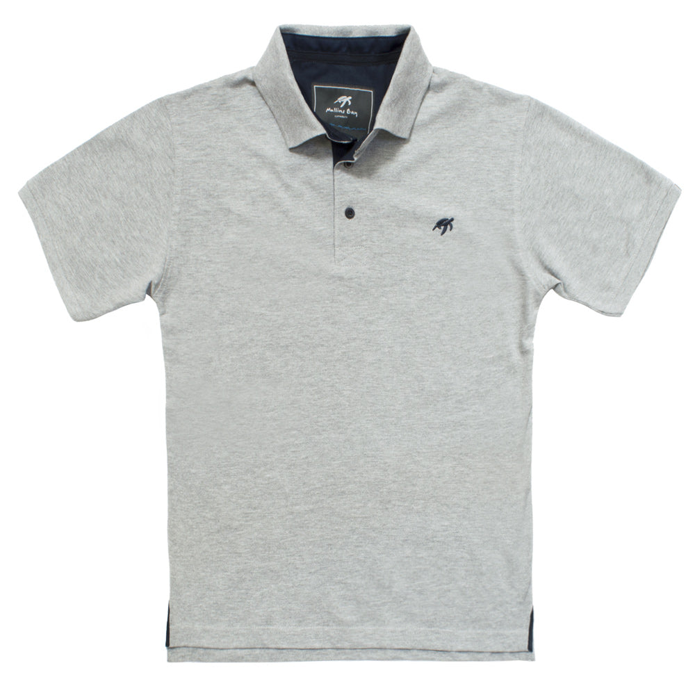 Mullins Bay Mens Polo Shirt- Grey Marl