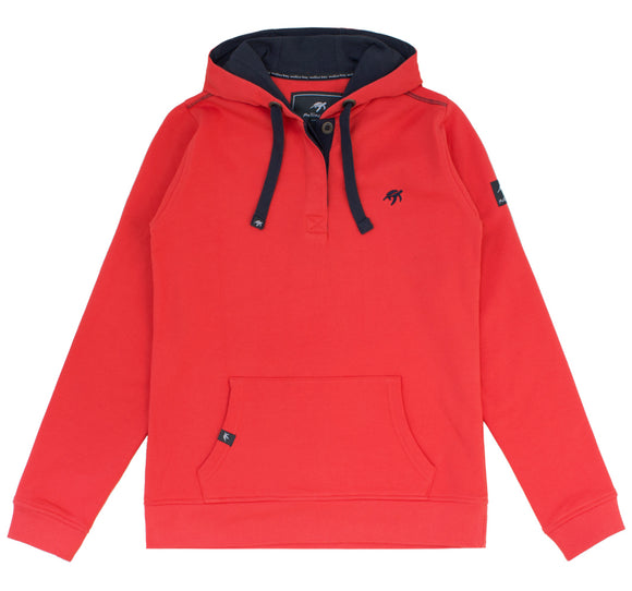 Ladies Boatyard Button Up Hoodie - Spicy Red