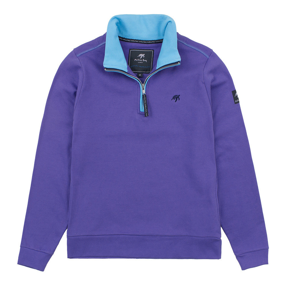 Ladies West Cost  Half Zip Sweatshirt Indigo Haze