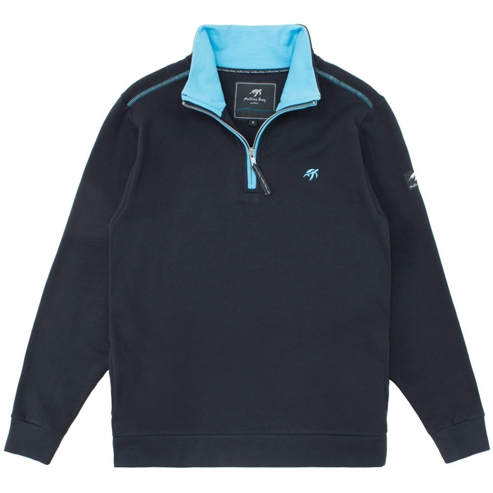 Mens West Coast Half Zip Sweatshirt Harbour