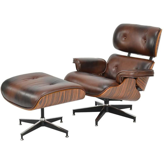 Loungue Chair: Reposapiés de piel marrón - Ottoman de Charles & Roy Eames