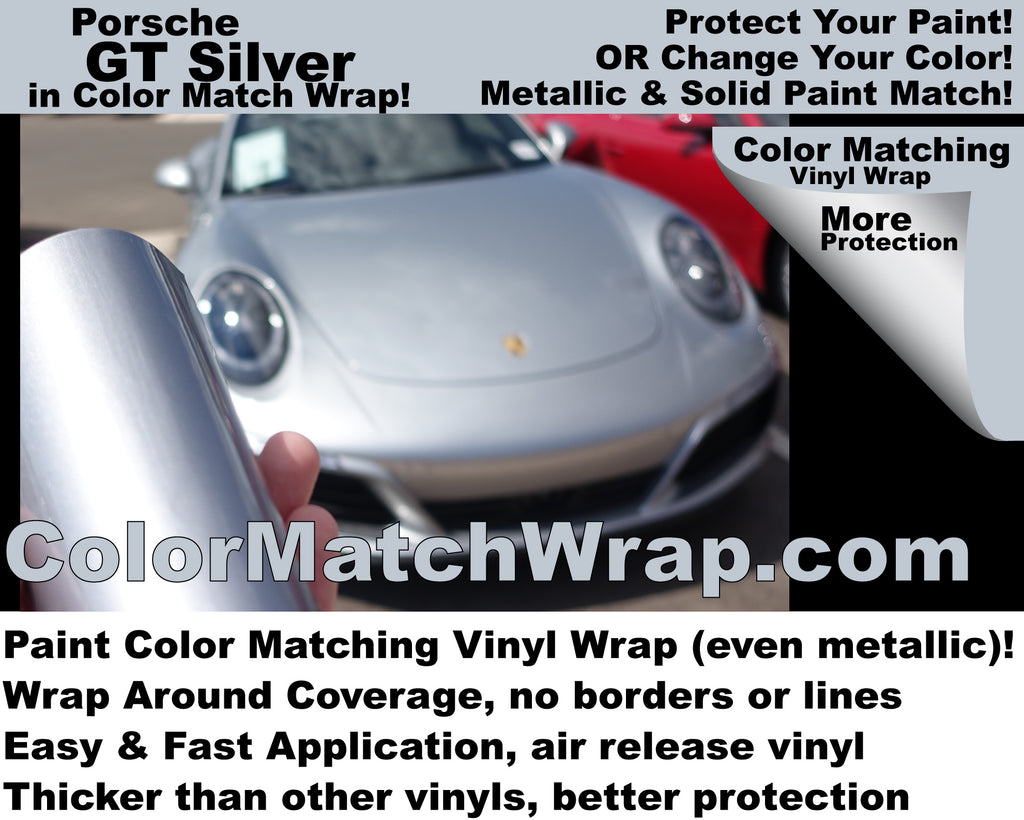 Porsche Paint Colors in Vinyl Wrap - GT Silver M7Z Matching Vinyl Wrap