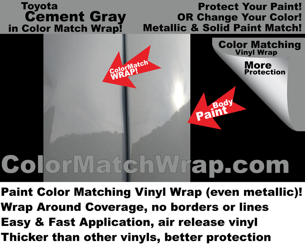 New! Toyota Cement Gray 1H5 in a vinyl wrap: Paint Color Matching Wrap