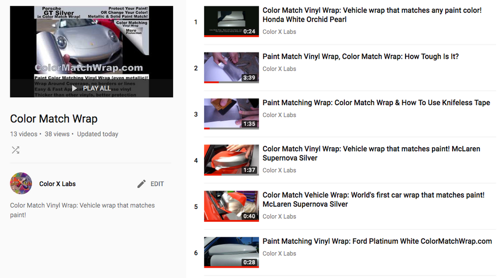 Videos about Paint Color Matching Vinyl Wrap