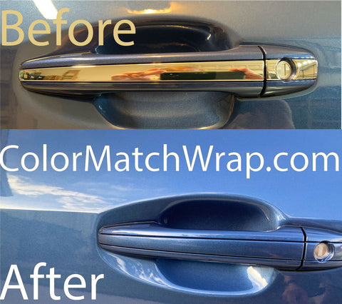 Chrome delete door handle with color match wrap