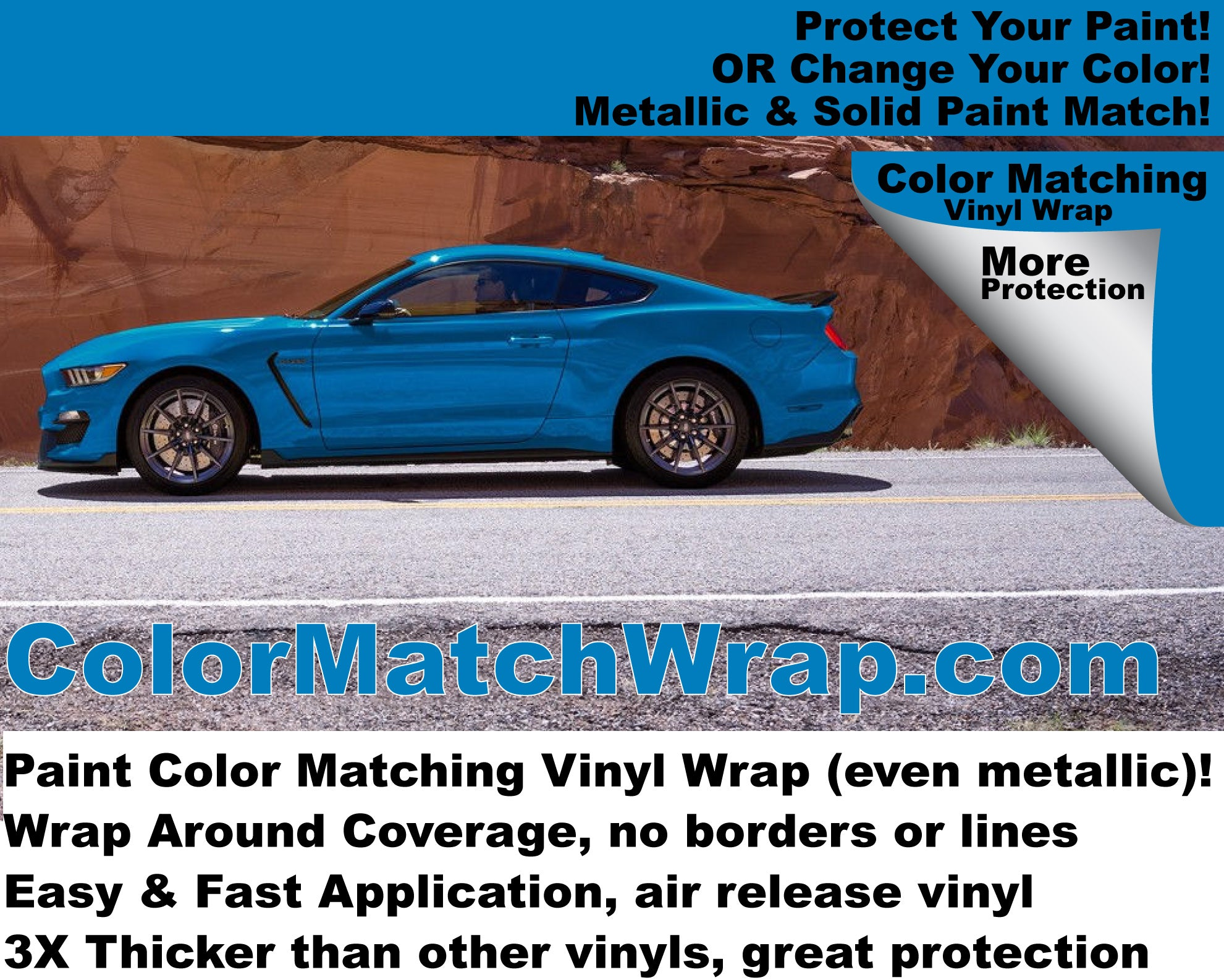 2017 Ford Mustang Vinyl Wrap: Protective Paint Color Match Vinyl Wrap