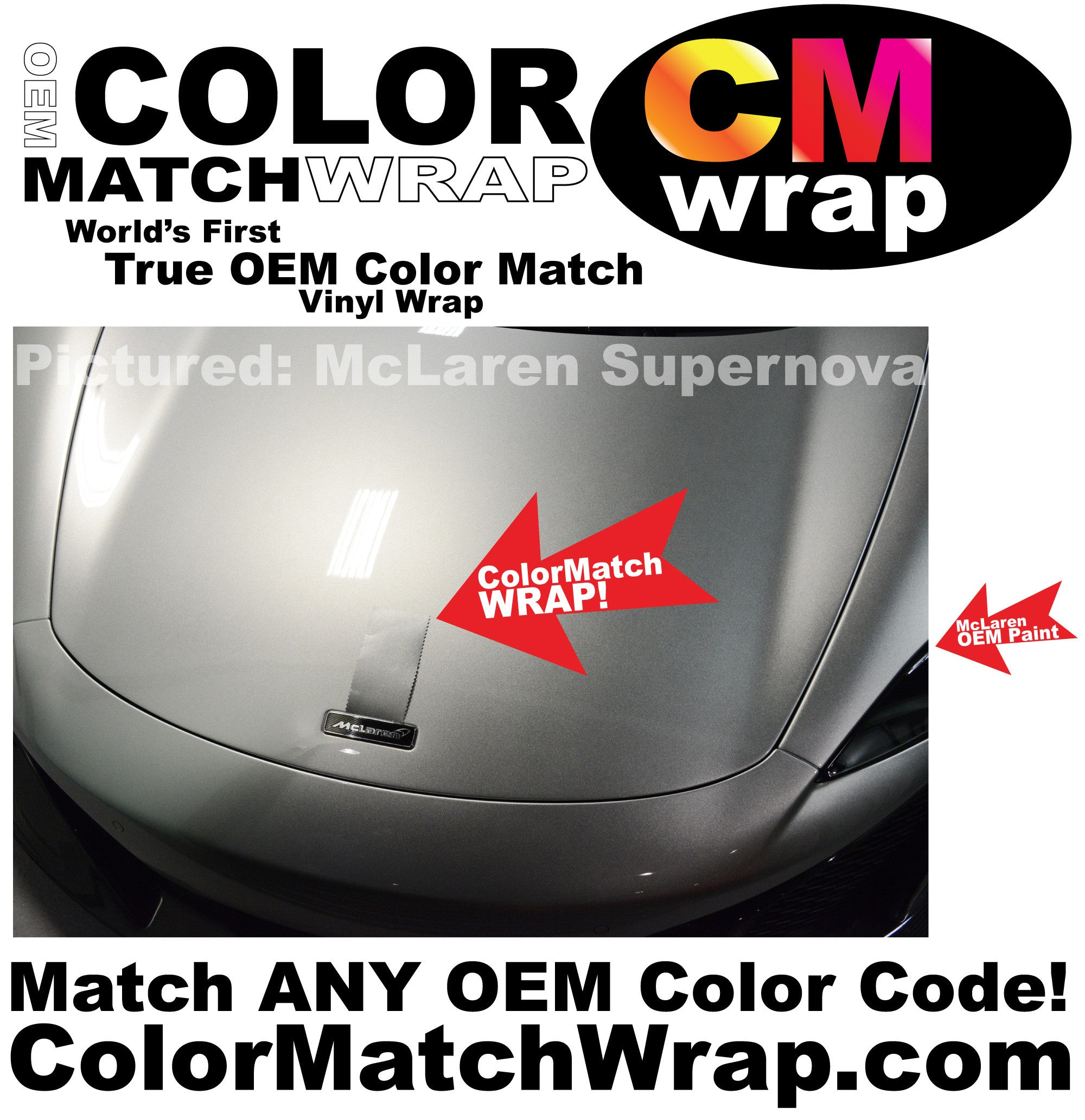 Color Match Wrap, McLaren Supernova Silver Hood Color Matching Vinyl Wrap!