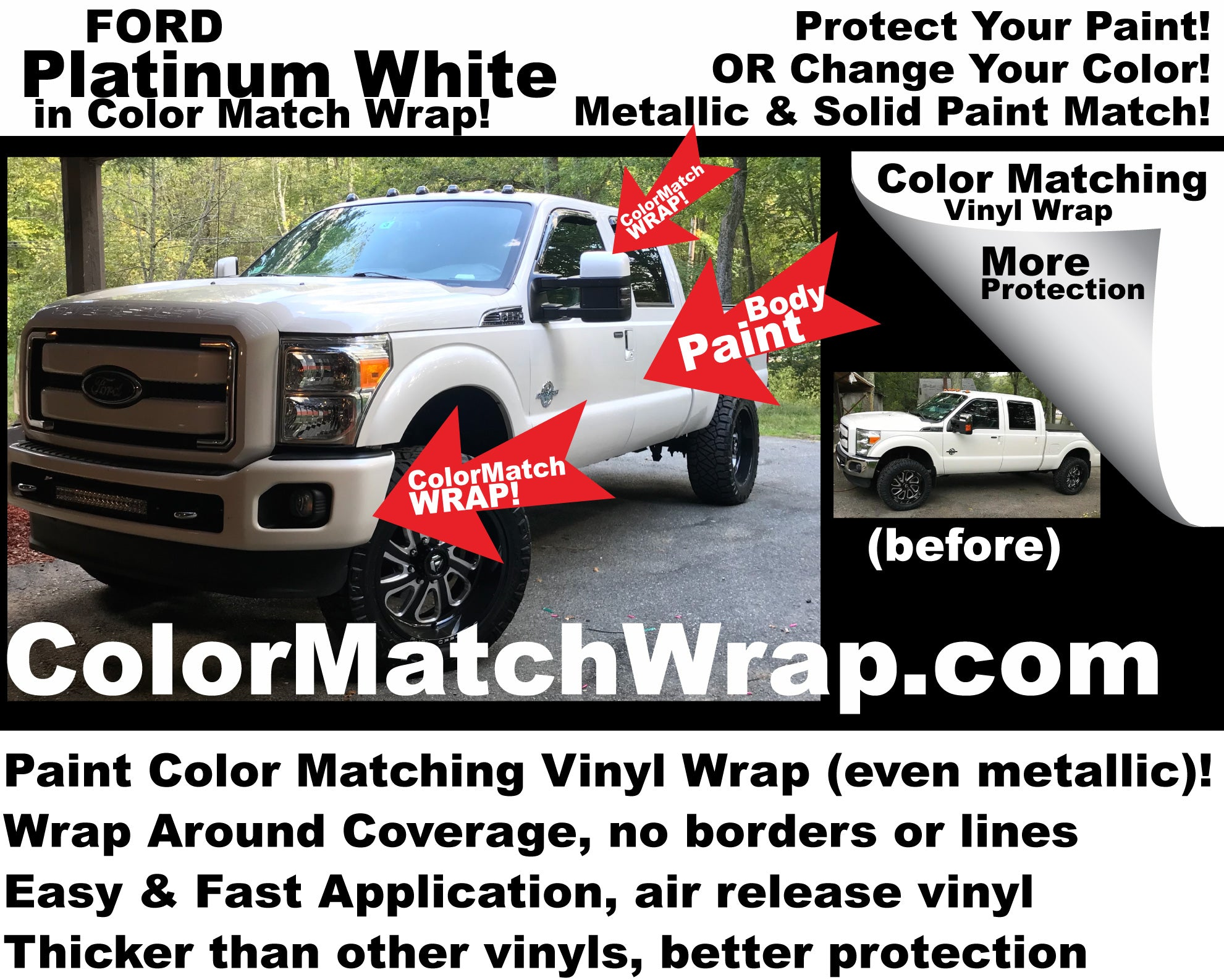 Chrome delete with color matching vinyl wrap ford ug platinum white