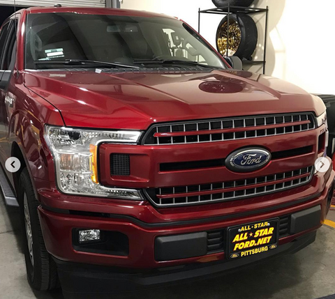 ford rr ruby red color match vinyl front bumper grille