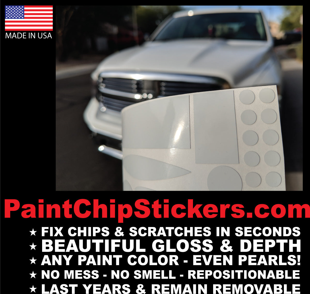 easy way to fix paint chips and scratches with a sticker